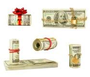 Insieme dei wads e delle pile di Stati Uniti cento dollari Fotografie Stock Libere da Diritti