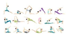 Insieme del asana di yoga per gli uomini e le donne illustrazione vettoriale