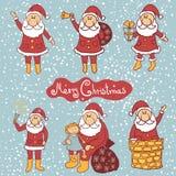 Insieme del Babbo Natale di scarabocchio Fotografia Stock