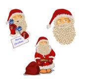 Insieme del Babbo Natale Elemento decorativo con l'albero di agrifoglio illustrazione di stock