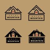 Insieme del badg della montagna dell'hotel Fotografie Stock