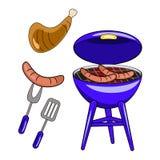 Insieme del barbecue di vettore isolato su fondo bianco Progettazione piana royalty illustrazione gratis