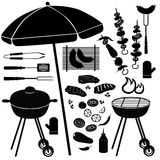 Insieme del BBQ. Icone della griglia del barbecue Immagine Stock