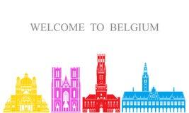 Insieme del Belgio Architettura isolata del Belgio su fondo bianco Immagini Stock