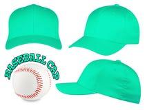 Insieme del berretto da baseball del turchese Immagini Stock Libere da Diritti