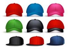 Insieme del berretto da baseball realistico 3D per l'uomo con varietà di colori illustrazione di stock