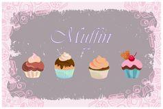 Insieme del bigné di colore pastello Muffin con il fondo della caramella illustrazione vettoriale