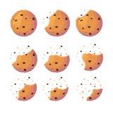 Insieme del biscotto pronto per l'animazione Biscotto dolce con i frammenti di schiacciamento Illustrazione piana di vettore del  royalty illustrazione gratis