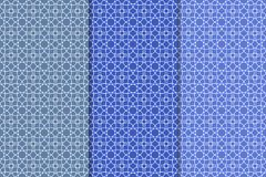 Insieme del blu dei modelli senza cuciture geometrici Fotografie Stock