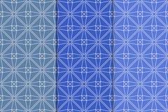Insieme del blu dei modelli senza cuciture geometrici Immagini Stock Libere da Diritti