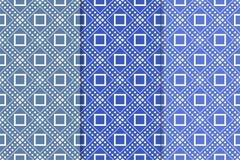 Insieme del blu dei modelli senza cuciture geometrici Fotografia Stock