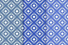 Insieme del blu dei modelli senza cuciture geometrici Fotografia Stock Libera da Diritti