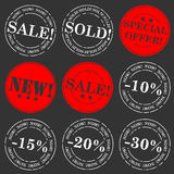 Insieme del bollo di vendita Fotografie Stock