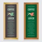 Insieme del bordo isolato del menu del caffè Fotografia Stock