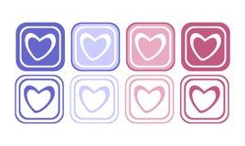 Insieme del bottone del cuore Fotografie Stock