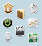 Icone dell'autoadesivo per i segni e l'interfaccia Fotografie Stock Libere da Diritti