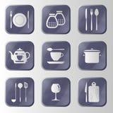 Insieme del bottone della cucina del metallo di alta tecnologia. Royalty Illustrazione gratis