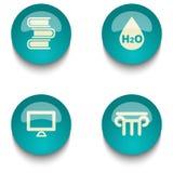 Insieme del bottone di web di istruzione di verde blu Fotografia Stock