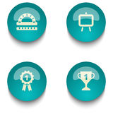 Insieme del bottone di web di istruzione di verde blu Fotografie Stock