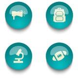 Insieme del bottone di web di istruzione di verde blu Fotografia Stock Libera da Diritti