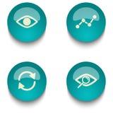 Insieme del bottone di web di istruzione di verde blu Fotografie Stock Libere da Diritti