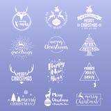 Insieme del Buon Natale e del buon anno Logo Icon Fotografia Stock Libera da Diritti