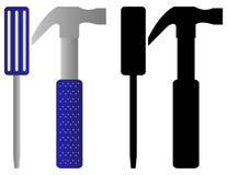 Insieme del cacciavite e del martello Immagine Stock Libera da Diritti