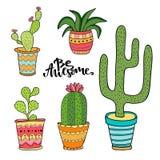 Insieme del cactus e del succulente Piante del fumetto in vasi L'illustrazione di vettore ha messo con le piante sveglie dell'int illustrazione di stock