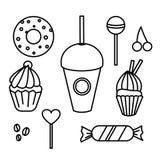Insieme del caffè disegnato a mano del forno dei dolci Rebecca 36 Illustrazione di vettore Il meglio per progettazione, tessuti,  illustrazione di stock
