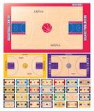 Insieme del campo da pallacanestro illustrazione vettoriale