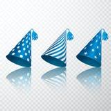 Insieme del cappello blu di compleanno Insieme di carta del cappuccio del cono di compleanno Illustrazione di vettore isolata su  illustrazione vettoriale
