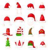 Insieme del cappello del Babbo Natale Grande raccolta di vettore Fotografie Stock Libere da Diritti