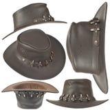 Insieme del cappello di cowboy marrone Immagini Stock