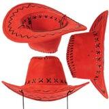 Insieme del cappello di cowboy rosso Fotografie Stock