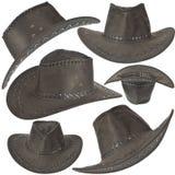 Insieme del cappello nero del cowboy Immagini Stock Libere da Diritti