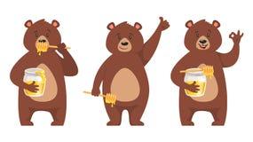 Insieme del carattere dell'orso illustrazione di stock