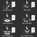 Insieme del carattere della tazza di caffè Fotografia Stock Libera da Diritti