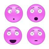 Insieme del carattere di emozione e di emoji, icone di sorriso Illustrazione di vettore su priorità bassa bianca Fotografia Stock