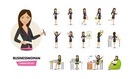 Insieme del carattere di lavoro della donna di affari nelle situazioni del lavoro d'ufficio Fotografia Stock