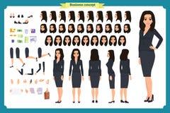 Insieme del carattere di progettazione di carattere della donna di affari con le vari viste, pose e gesti stile, vettore piano is illustrazione vettoriale