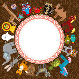 Insieme del carattere divertente degli animali del fumetto su un fondo marrone Immagine Stock