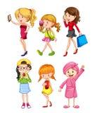 Insieme del carattere femminile royalty illustrazione gratis