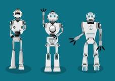 Insieme del carattere del robot di androidi nelle pose interattive differenti Immagine Stock