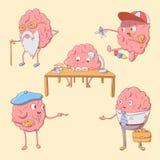 Insieme del carattere sveglio del cervello del fumetto Fotografia Stock