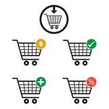 Insieme del carrello del supermercato isolato su fondo bianco Fotografia Stock Libera da Diritti