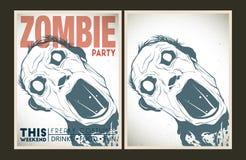 Insieme del cartello del partito dello zombie Fotografia Stock Libera da Diritti
