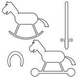 Insieme del cavallo di contorni Immagini Stock Libere da Diritti