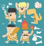 Insieme del cavernicolo del fumetto dell'illustrazione Fotografie Stock