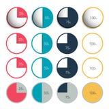 Insieme del cerchio di plastica e piano di 3d, grafici rotondi Immagine Stock