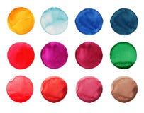 Insieme del cerchio dipinto a mano dell'acquerello variopinto su bianco Illustrazione per progettazione artistica Macchie rotonde Fotografia Stock Libera da Diritti